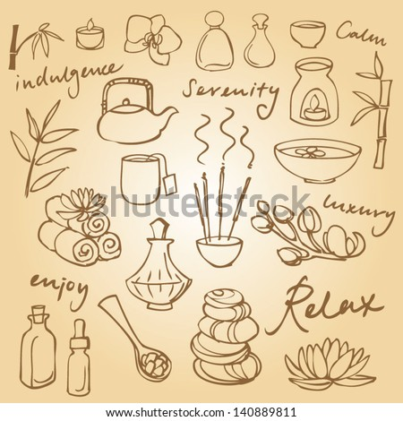Spa & beauty doodle icons set - stock vector