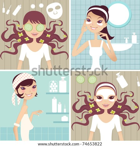 Spa Collage- Dayspa concept - stock vector