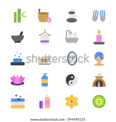 Spa Flat Color Icons - stock vector