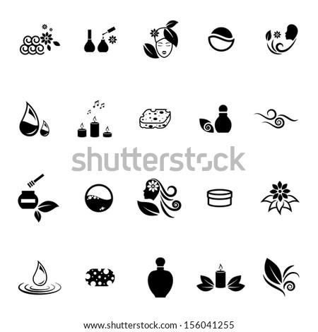 Spa Icons Set - Isolated On White Background - Vector Illustration, Graphic Design Editable For Your Design. Spa Logo - stock vector