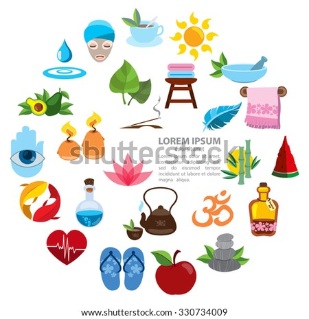 Spa infographics, spa icons, healthy lifestyle, wellness, round composition - stock vector
