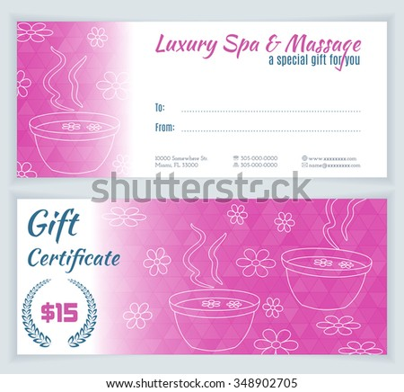 Spa, massage gift certificate template with hand drawn foot bath and flowers. Background for invitation, money design, currency, note, check (cheque), ticket, reward. Beauty and health concept. Vector - stock vector