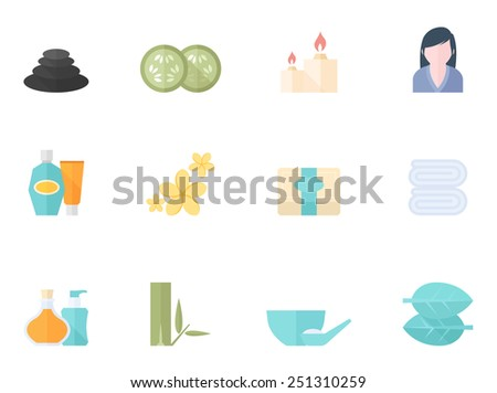 Spa related icon series in flat color style - stock vector