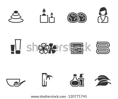 Spa related icon series in single color style - stock vector