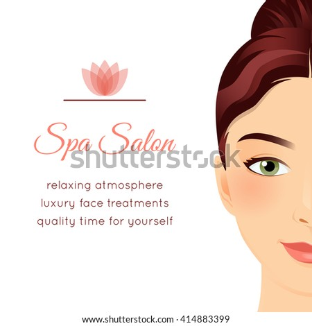 Spa Salon poster with a face of a beautiful girl. Face treatments gift voucher, makeover day ad, wellness center invitation flyer. Graphic design template. Attractive young woman. Vector illustration - stock vector