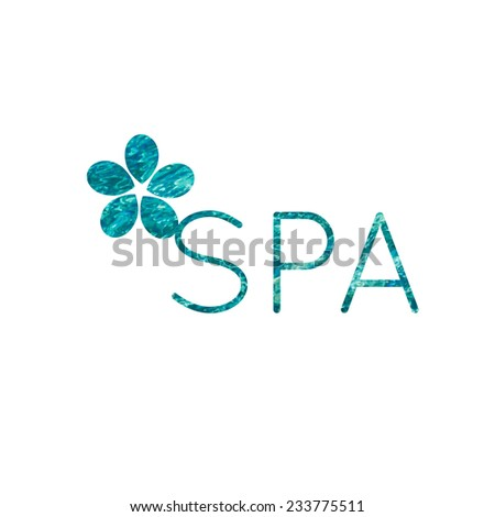 Spa sign with bright water texture - stock vector
