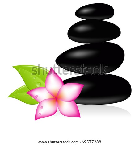 Spa stone and pink beautiful flower. Vector illustration.