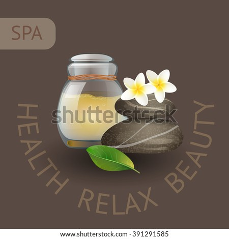 SPA theme vector illustration with jar, stones and flowers. Badge template with text Health  Relax  Beauty. - stock vector