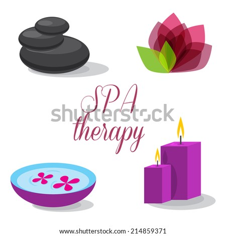 spa therapy, spa set - stock vector