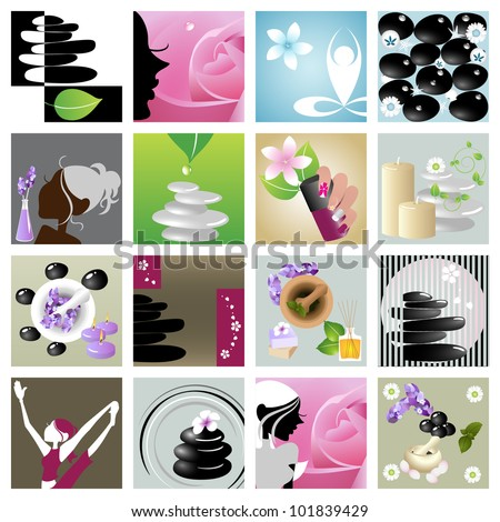 Spa & wellness graphic design elements for icons, logos & background. (Part 8) - stock vector