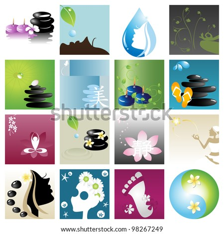 Spa & wellness graphic design elements for icons, logos & background. (Part 3) - stock vector