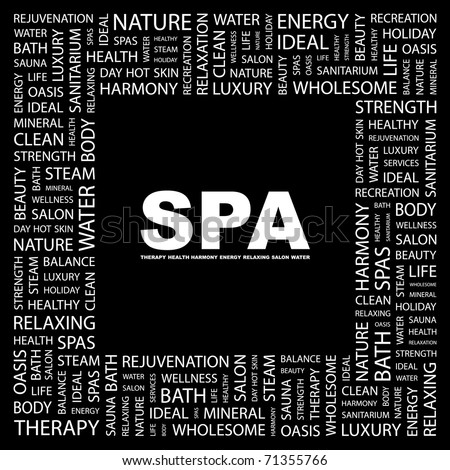 SPA. Word collage on black background. Vector illustration. Illustration with different association terms. - stock vector