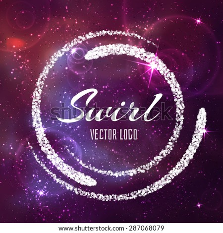 Space abstract star background with white banner. Vector illustration. - stock vector