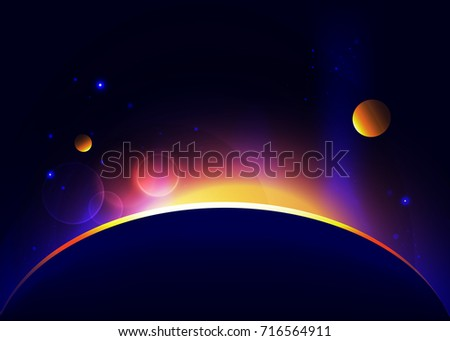 Space abstract vector background with eclipse and sunrise. Stars and planets.