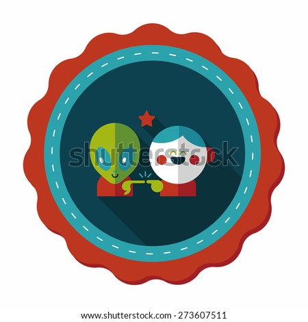 Space alien and boy friendship flat icon with long shadow,eps10 - stock vector
