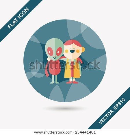 Space alien friendship flat icon with long shadow,eps10 - stock vector