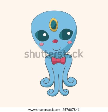 Space alien theme elements - stock vector
