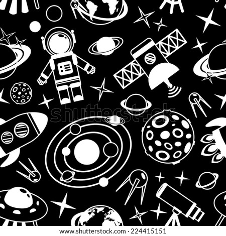 Space and astronomy black and white seamless pattern with decorative elements vector illustration - stock vector