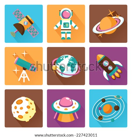 Space and astronomy flat icons set with telescope globe rocket isolated vector illustration - stock vector