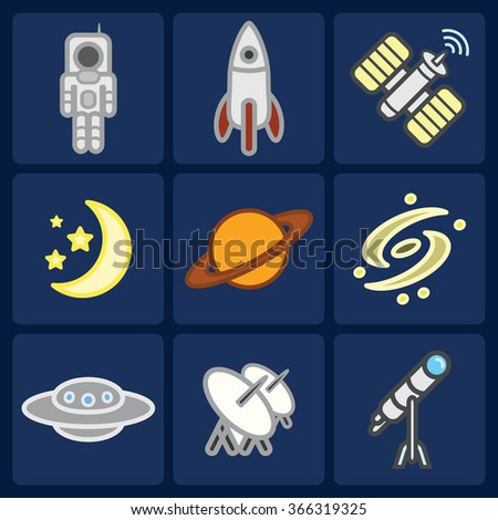Space and astronomy icons set. Vector eps 10.