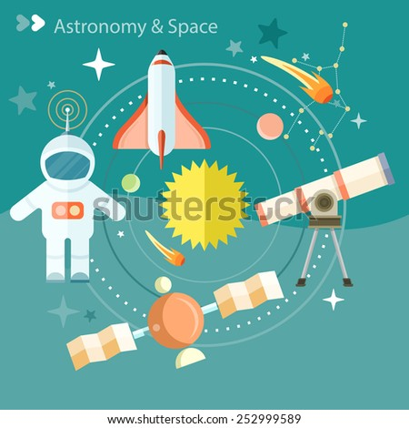 Space and astronomy icons set with telescope globe rocket astronaut. Concept in flat design cartoon style on stylish background - stock vector