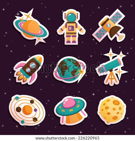 Space and astronomy stickers set with solar system ufo moon isolated vector illustration
