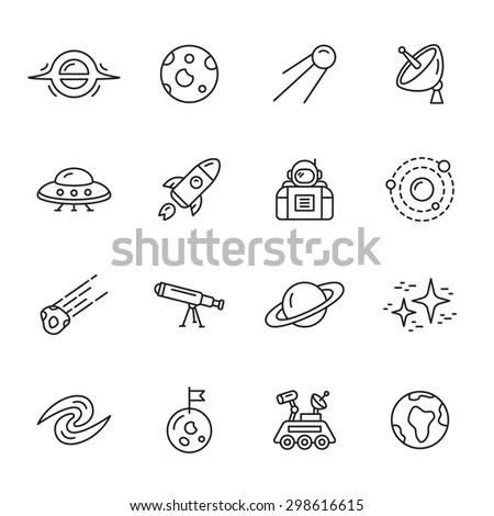 Space and astronomy thin line icons - stock vector