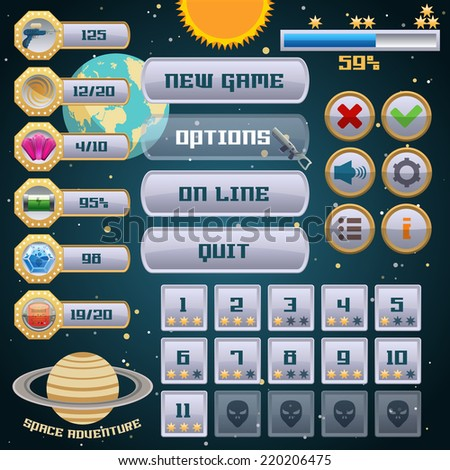 Space arcade adventure game menu interface design template vector illustration - stock vector