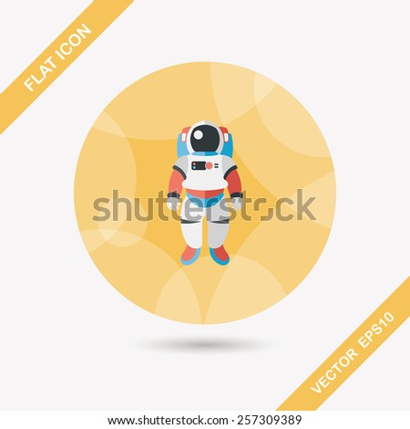 Space Astronaut flat icon with long shadow, eps10 - stock vector