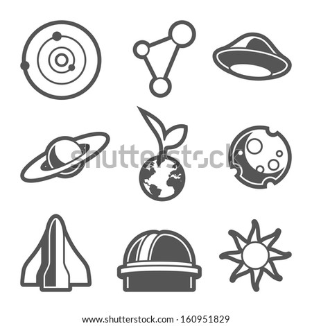 Space astronomical icons / vector without background - stock vector