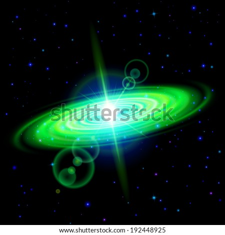 Space background. Green galaxy with bright flare among stars in dark universe - stock vector