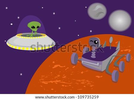 Space background rover exploring mars vector - stock vector