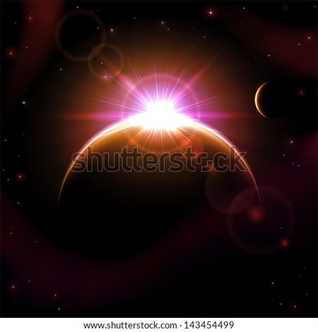 Space background with planets and shining sun, illustration.