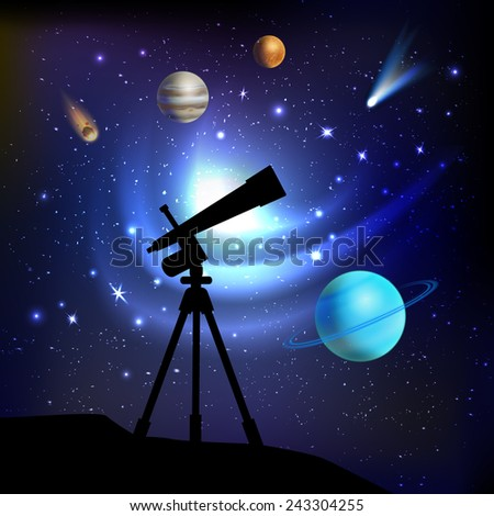 Space background with telescope planets comets and stars vector illustration - stock vector