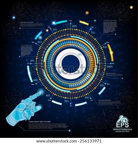 space blue background or high tech futuristic interface with robot hand hand pointer HUD and GUI - stock vector