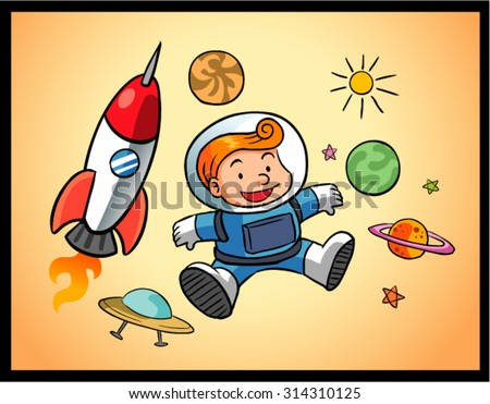 space boy and universe 1 - stock vector