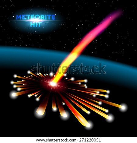 Space card with meteorite hit and explosion - stock vector