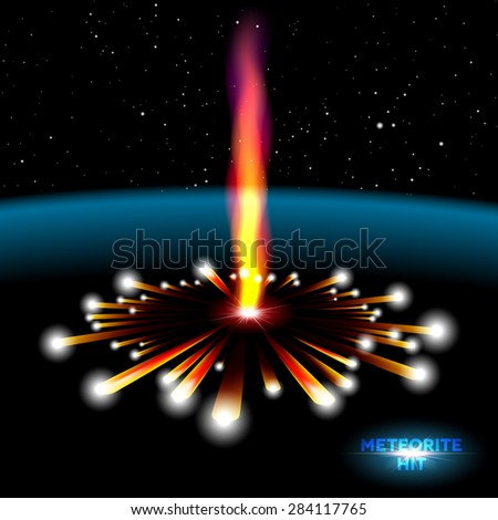 Space card with vertical meteorite hit and explosion - stock vector