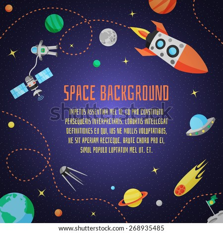 Space cartoon background with rocket spaceship stars and planet vector illustration - stock vector