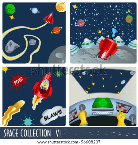 Space collection 6, astronauts in different situations. - stock vector