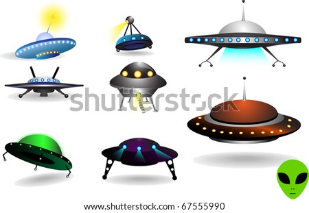 space collection of flying saucers - stock vector