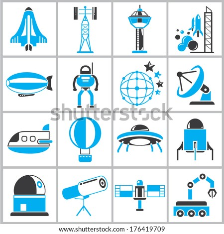 space collection, space icons, black and blue theme - stock vector