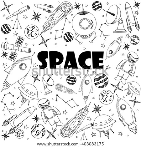 Space coloring book line art design vector illustration. Separate objects. Hand drawn doodle design elements. - stock vector