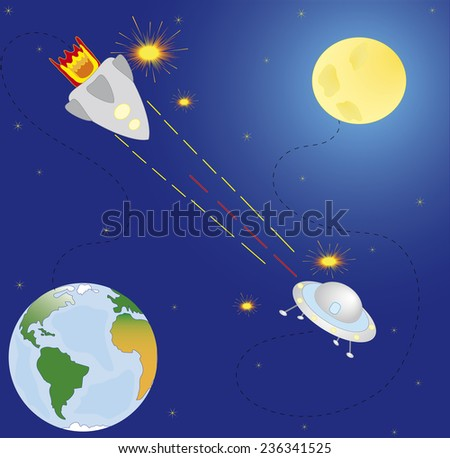 Space combat, planets and stars. Seamless background . Cartoon space icons. Elements for scrap-booking. Hand drawn vector illustration.