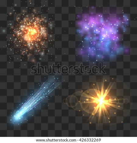 Space cosmos objects, comet, meteor, stars explosion on transparence checkered background. Universe explosion or fly star, meteor light and asteroid in universe. Vector illustration - stock vector
