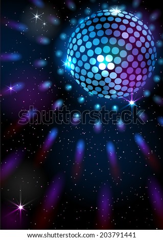 Space Disco Ball. Vector background. EPS 10. Masks are used, so you can move the ball and lights.  Smartly grouped and layered. - stock vector