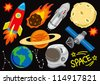 space doodle set - stock photo