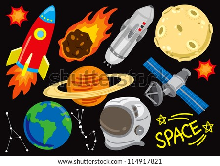 space doodle set - stock vector
