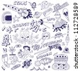 space - doodles collection - stock vector