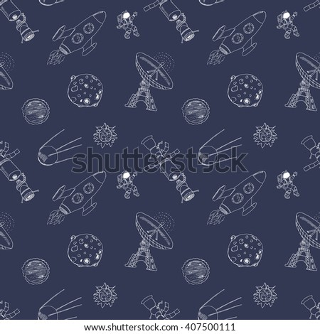 Space doodles icons seamless pattern. Hand drawn sketch with meteors, Sun and Moon, radar, astronaut and rocket. vector illustration. - stock vector